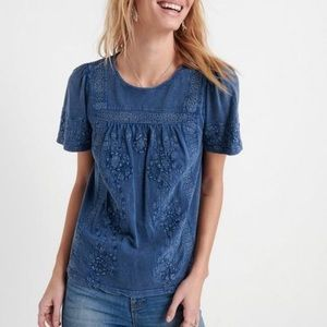 Lucky Brand Top Embroidered Crochet Peasant Blue